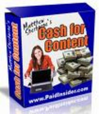 Product picture Cash For Content